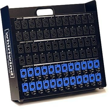 Whirlwind SB20P - Splitter - Stage Box, 20 XLRF [inputs], 20 XLRM [parallel output], 20 XLRM [parallel output]