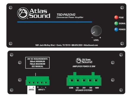Atlas Sound TSD-PA20VG - 20W Mono 4?/25V/70.7V/100V Power Amplifier
