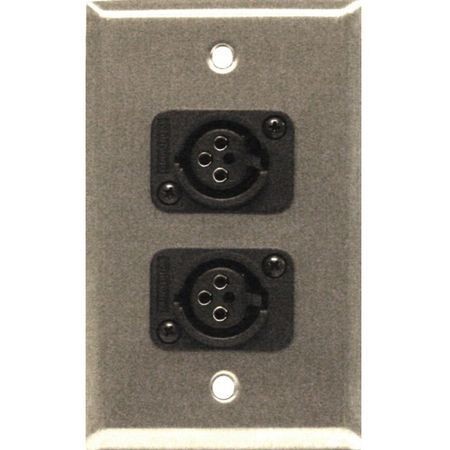 Whirlwind WP1/2FW - Wallplate - 1 gang, stainless steel, 2 Whirlwind WC3F female XLRs