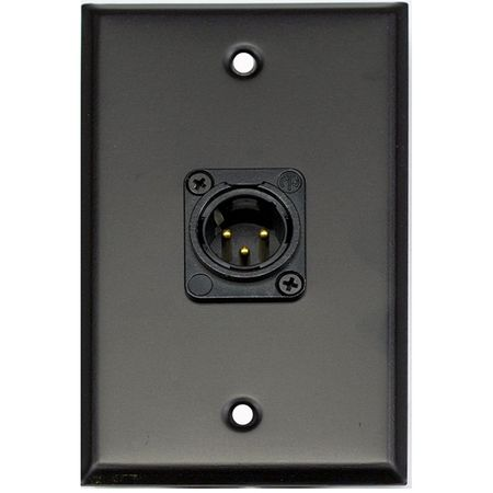 Whirlwind WP1B/1MNS - Wallplate - 1 gang, black, 1 Neutrik male XLR, screw terminals