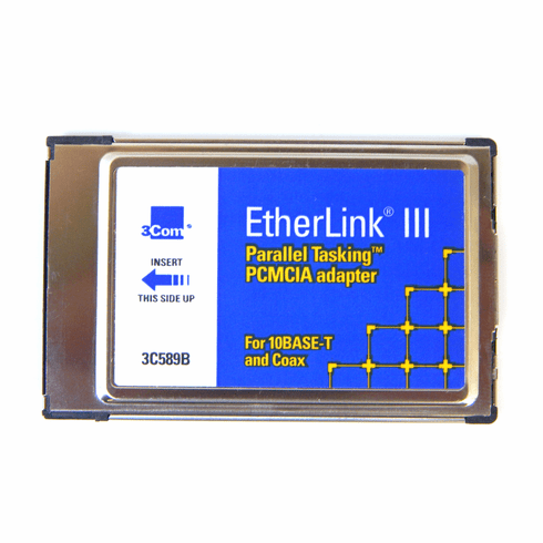 3Com EtherLink III NO-Cable PCMCIA 2.0 Adapter 3C589B 16-0009-000  Card
