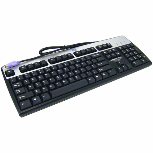 HP Canadian-French Wired PS2 Keyboard NEW 352750-121 Windows Silver and Carbonite