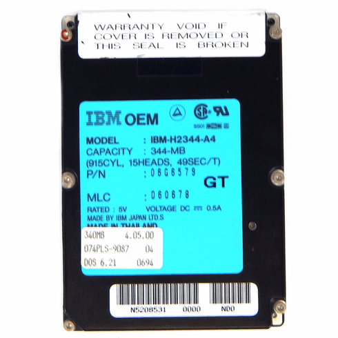 IBM Thinkpad 344MB 2.5in 17mm IDE Hard Drive H2344-A4 IBM Laptop D60678 Thinkpad
