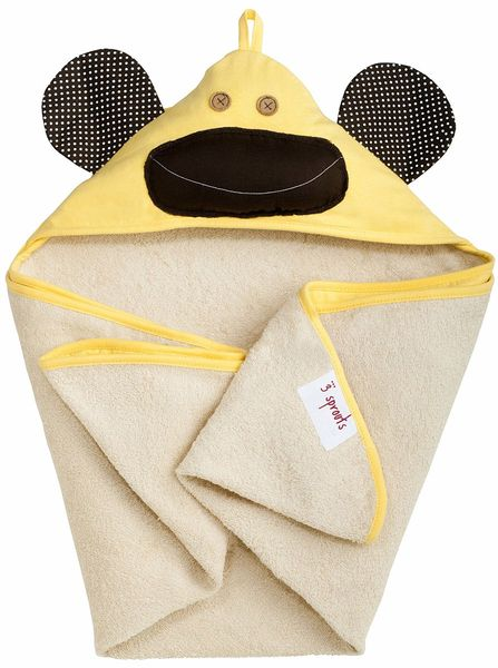 3 Sprouts Hooded Towel - Monkey Yellow