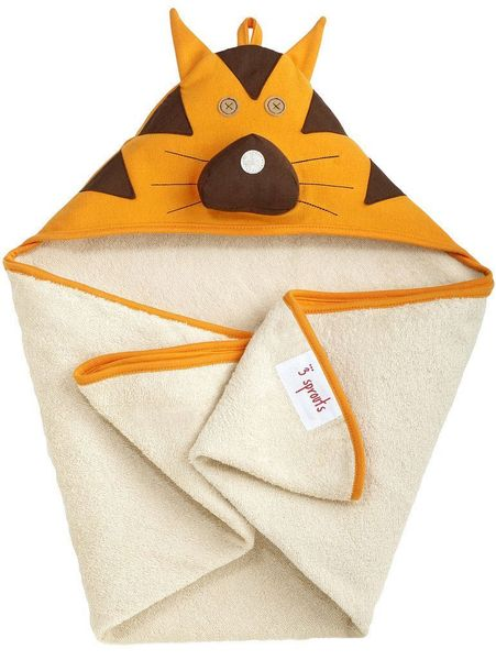 3 Sprouts Hooded Towel - Tiger Orange
