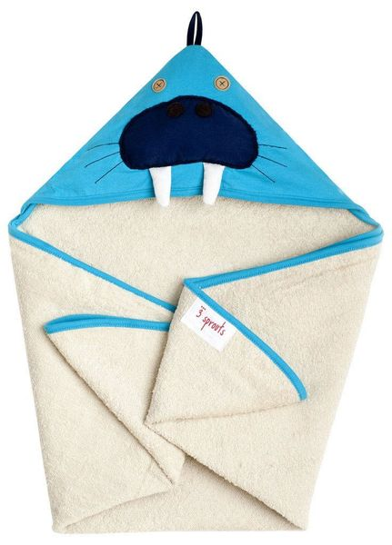3 Sprouts Hooded Towel - Walrus Blue