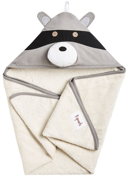 3 Sprouts Hooded Towel - Raccoon Gray