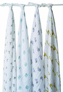 Aden + Anais Classic Swaddle Wraps, 4 Pack - Jungle Jam