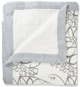 Aden + Anais Bamboo Dream Blanket - Moonlight, Leafy and Solid Grey