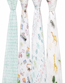 Aden + Anais Classic Swaddle Wraps, 4 Pack - Around the World