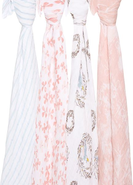 Aden + Anais Classic Swaddle Wraps, 4 Pack - Birdsong