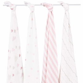 Aden + Anais Classic Swaddle Wraps, 4 Pack - Heart Breaker