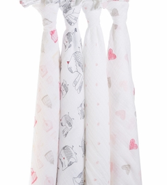 Aden + Anais Classic Swaddle Wraps, 4 Pack - Lovebird
