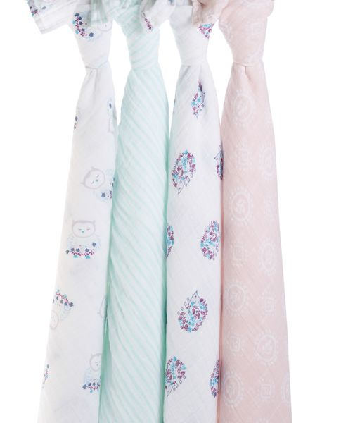 Aden + Anais Classic Swaddle Wraps, 4 Pack - Thistle