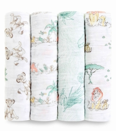 Aden + Anais Classic Swaddle Wraps, 4 Pack - Disney Lion King