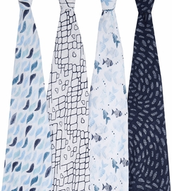 Aden + Anais Classic Swaddle Wraps, 4 Pack - Gone Fishing