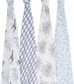 Aden + Anais Classic Swaddle Wraps, 4 Pack - Jungle