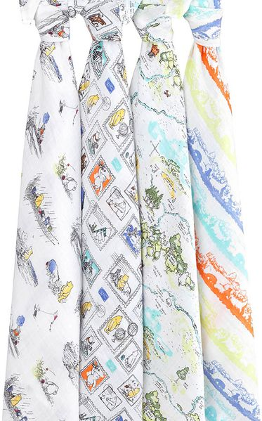 Aden + Anais Disney Baby Classic Swaddle Wrap, 4 Pack - Winnie the Pooh