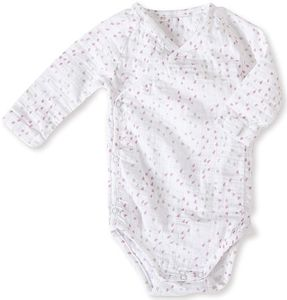 Aden + Anais Long Sleeve Kimono Body Suit - Lovely Mini Hearts (0-3 Months)