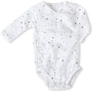 Aden + Anais Long Sleeve Kimono Body Suit - Night Sky Starburst (3-6 Months)