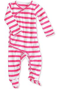 Aden + Anais Long Sleeve Kimono One-Piece - Shocking Pink Blazer Stripe (0-3 Months)