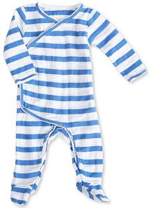 Aden + Anais Long Sleeve Kimono One-Piece - Ultramarine Blazer Stripe (3-6 Months)
