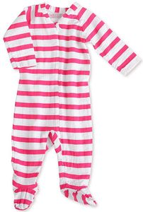 Aden + Anais Long Sleeve Zipper One-Piece - Shocking Pink Blazer Stripe (6-9 Months)