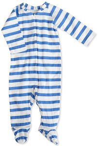 Aden + Anais Long Sleeve Zipper One-Piece - Ultramarine Blazer Stripe (3-6 Months)