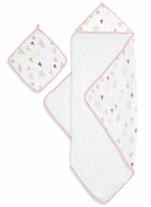 Aden + Anais Muslin-Backed Hooded Towel Set - Heartbreaker