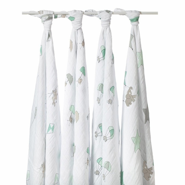 Aden + Anais Classic Swaddle Wraps, 4 Pack - Up Up and Away
