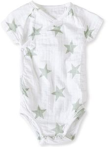 Aden + Anais Short Sleeve Kimono Body Suit - Silver Star (6-9 Months)
