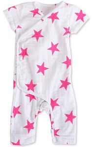 Aden + Anais Short Sleeve Kimono One-Piece - Shocking Pink Star (9-12 Months)