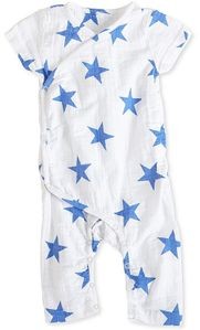 Aden + Anais Short Sleeve Kimono One-Piece - Ultramarine Star (3-6 Months)