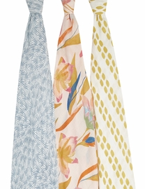 Aden + Anais Silky Soft Swaddles - 3-Pack - Marine Gardens