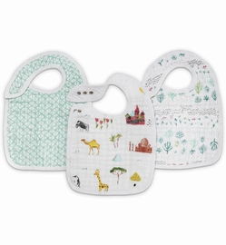 Aden + Anais Snap Bibs, 3 Pack - Around the World