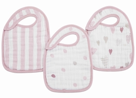 Aden + Anais Snap Bibs, 3 Pack - Heart Breaker