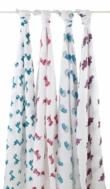 Aden + Anais Classic Swaddle Wraps, 4 Pack - Dino-Mite