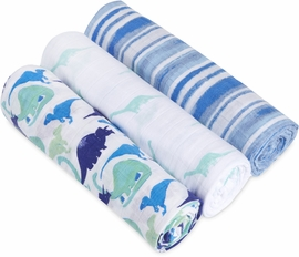 Aden + Anais White Label Classic Swaddle Wrap 3 Pack - Jurassic