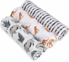 Aden + Anais White Label Classic Swaddle Wrap 3 Pack - Serengeti