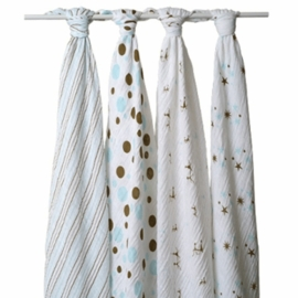 Aden and Anais 4 Pack Muslin Wraps in Blue