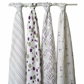 Aden and Anais 4 Pack Muslin Wraps in Eggplant & Gray