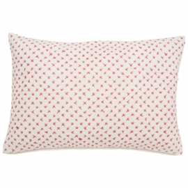 Auggie Cross-Stitch Decorative Pillow Cover in Pink
