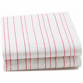 Auggie Twin Fitted Sheet in Painted Stripe Pink