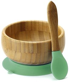 Avanchy Bamboo Stay Put Suction Baby Bowl + Spoon - Green