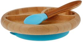 Avanchy Bamboo Suction Baby Divided Plate + Spoon - Blue
