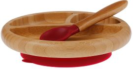 Avanchy Bamboo Suction Baby Divided Plate + Spoon - Magenta