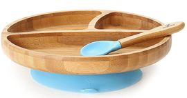 Avanchy Bamboo Suction Toddler Divided Plate + Spoon - Blue