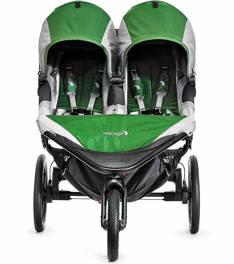 Baby Jogger 2016 Summit X3 Double Jogging Stroller Green Gray