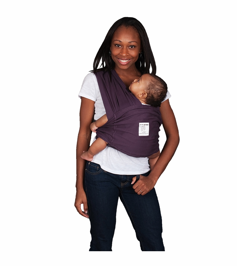 Baby K Tan Baby Carrier In Eggplant Large