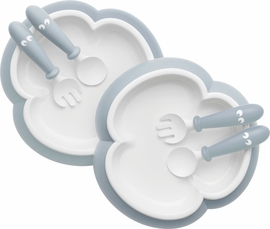 BabyBjorn Baby Plate, Spoon and Fork, 2 sets - Powder Blue